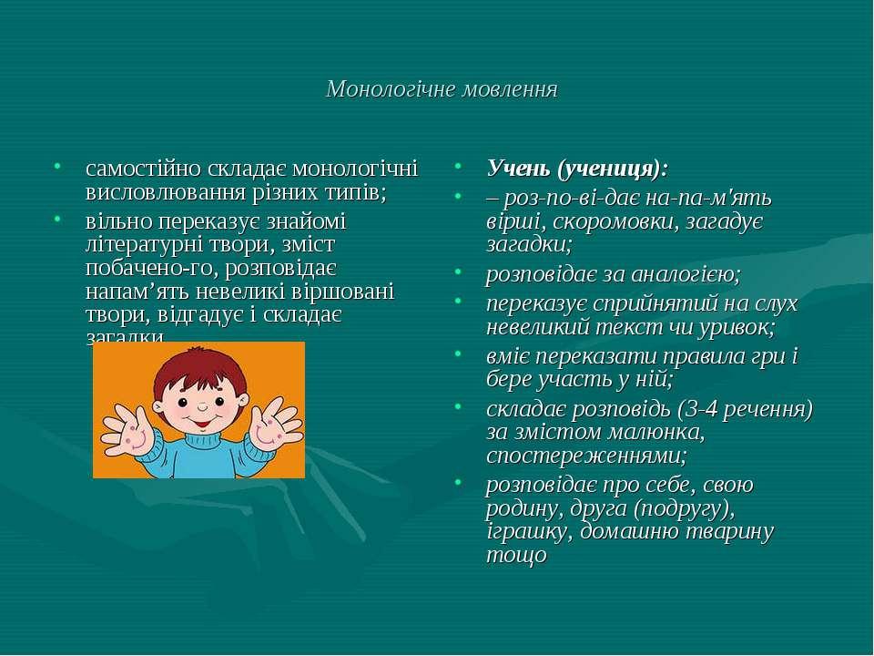 Монологічне мовлення самостійно складає монологічні висловлювання різних типі...