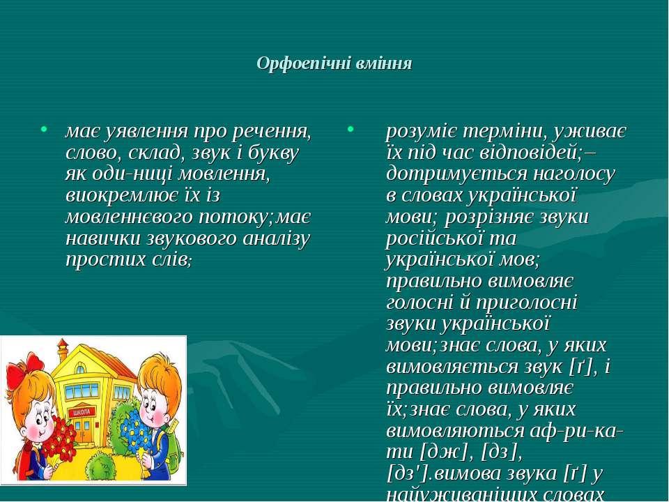 Орфоепічні вміння має уявлення про речення, слово, склад, звук і букву як оди...