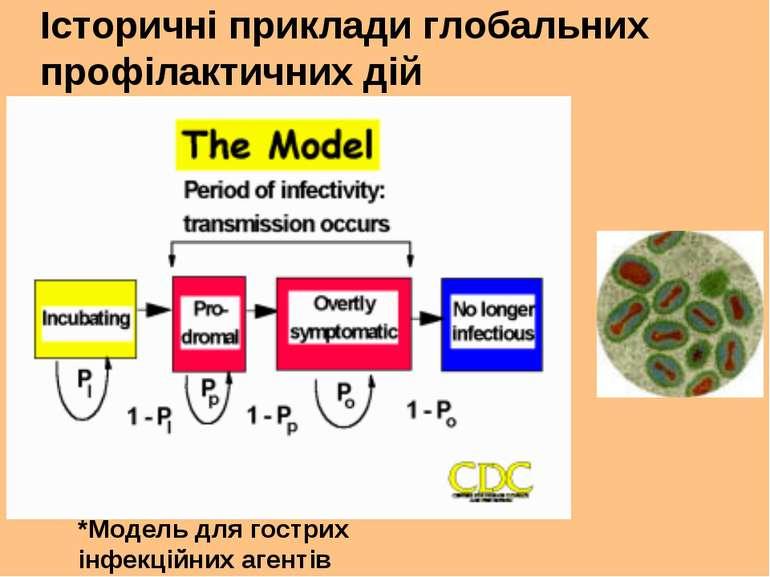 Історичні приклади глобальних профілактичних дій *Модель для гострих інфекцій...