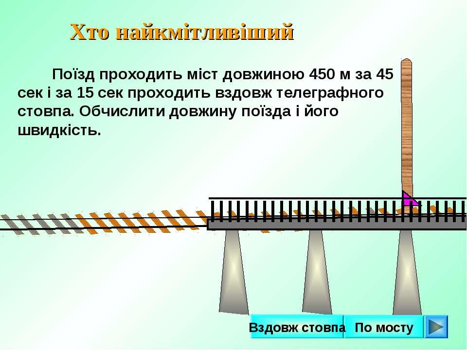 Поїзд проходить міст довжиною 450 м за 45 сек і за 15 сек проходить вздовж те...