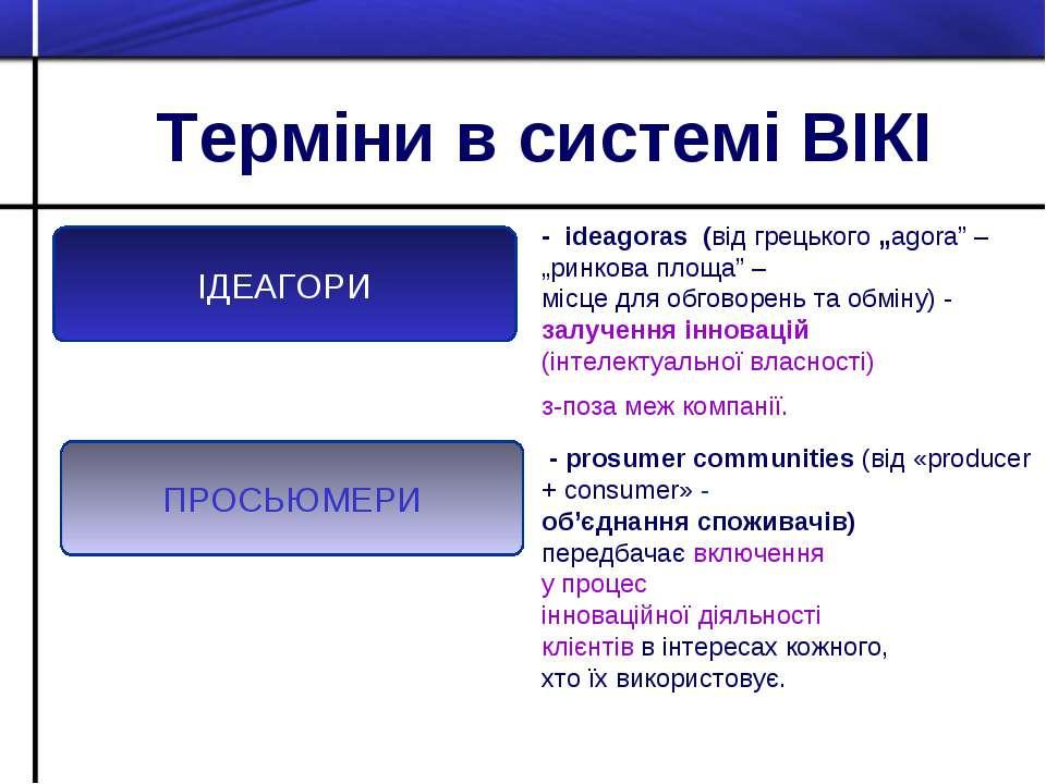 """Терміни в системі ВІКІ ПРОСЬЮМЕРИ ІДЕАГОРИ - іdeagoras (від грецького """"agora""""..."""