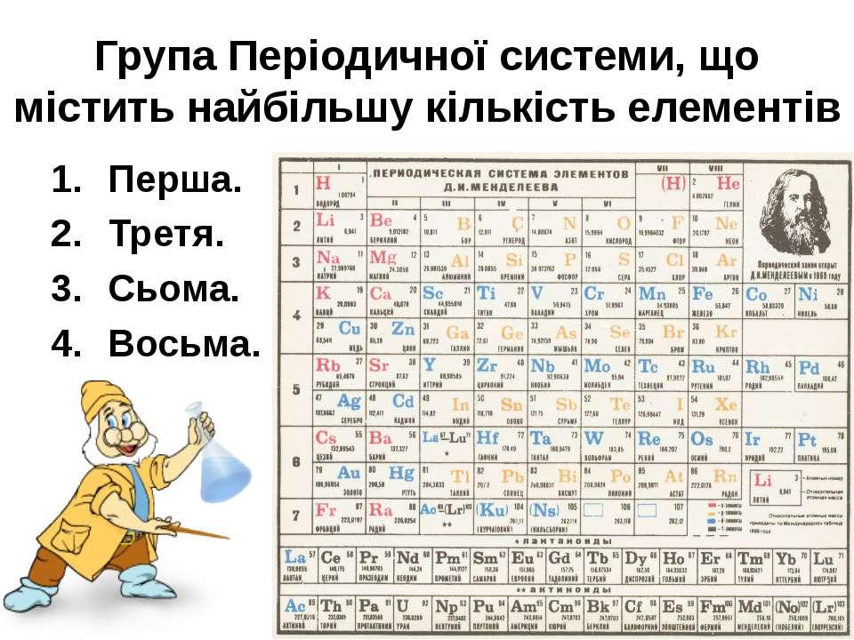Група Періодичної системи, що містить найбільшу кількість елементів Перша. Тр...