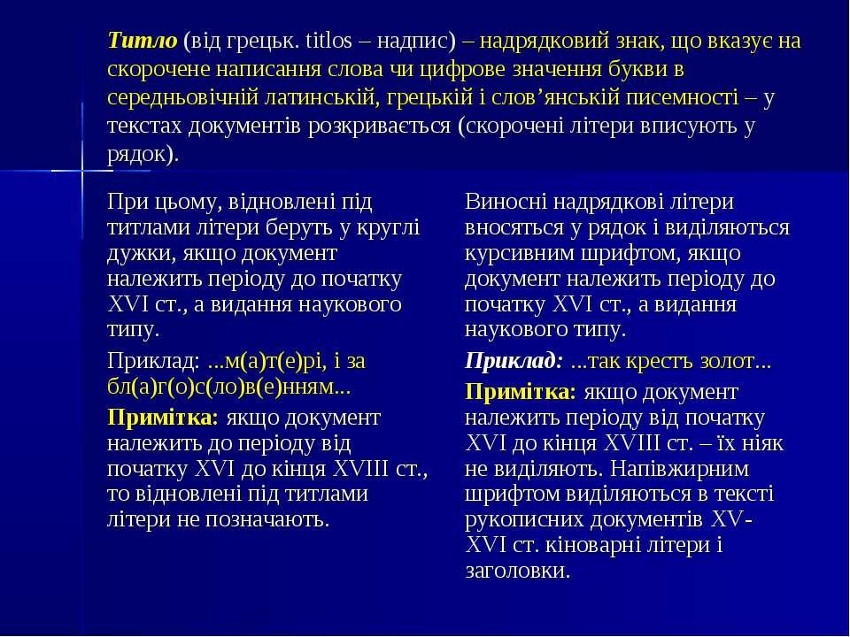Титло (від грецьк. titlos– надпис)– надрядковий знак, що вказує на скорочен...