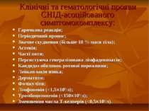 Клінічні та гематологічні прояви СНІД-асоційованого симптомокомплексу: Гарячк...