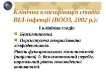 Клінічна класифікація стадій ВІЛ-інфекції (ВООЗ, 2002 р.): I клінічна стадія ...