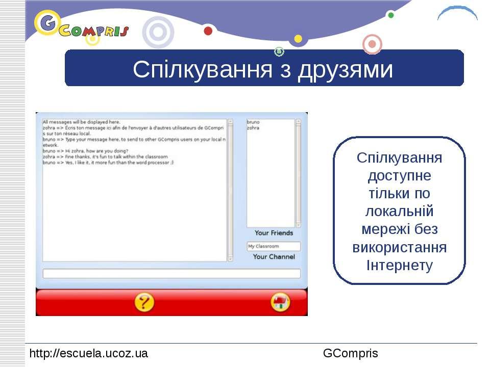 Спілкування з друзями Спілкування доступне тільки по локальній мережі без вик...