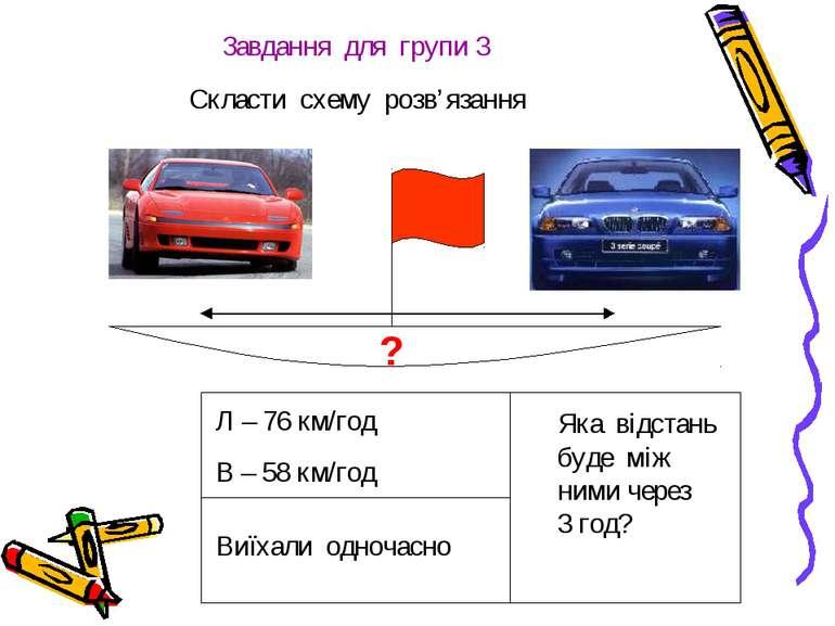 Завдання для групи 3 Скласти схему розв'язання Л – 76 км/год В – 58 км/год Ви...