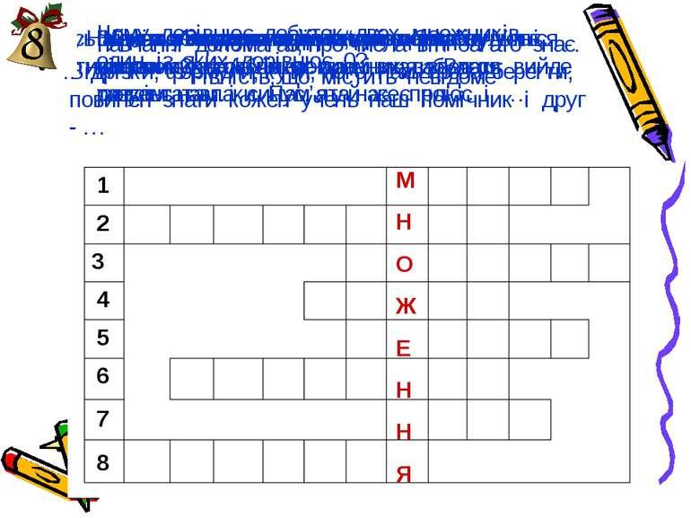 """1 2 3 4 5 6 7 8 І ось у нас з'явилось слово """"множення"""" у вертикальному стовбч..."""