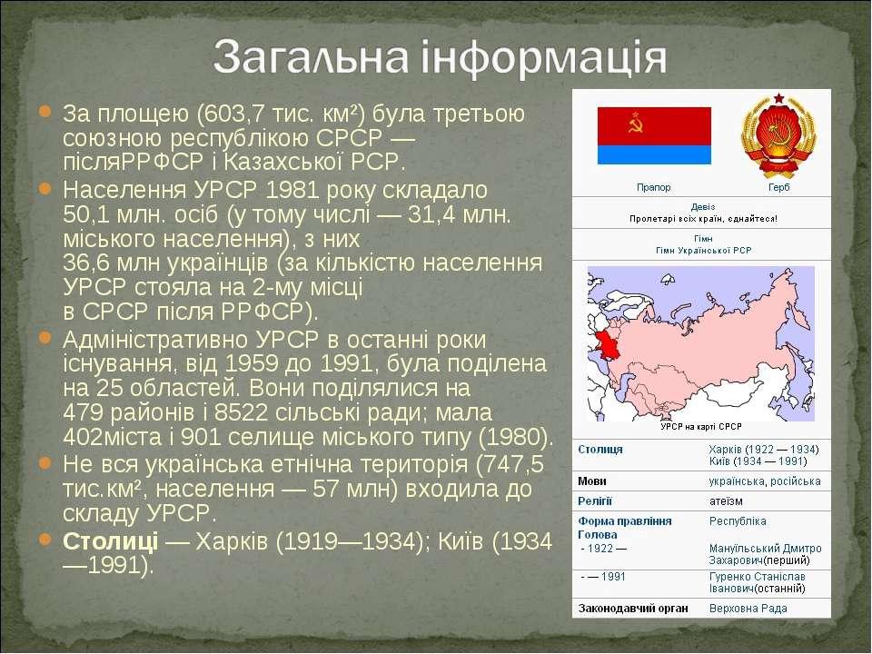 За площею (603,7тис. км²) була третьою союзною республікоюСРСР— післяРРФСР...
