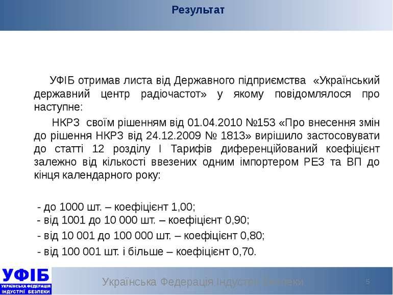 Результат Українська Федерація Індустрії Безпеки * УФІБ отримав листа від Дер...