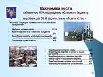 Економіка міста забезпечує 40% надходжень обласного бюджету, виробляє до 30 %...