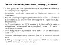 Основні показники громадського транспорту м. Львова У місті функціонує 1050 п...