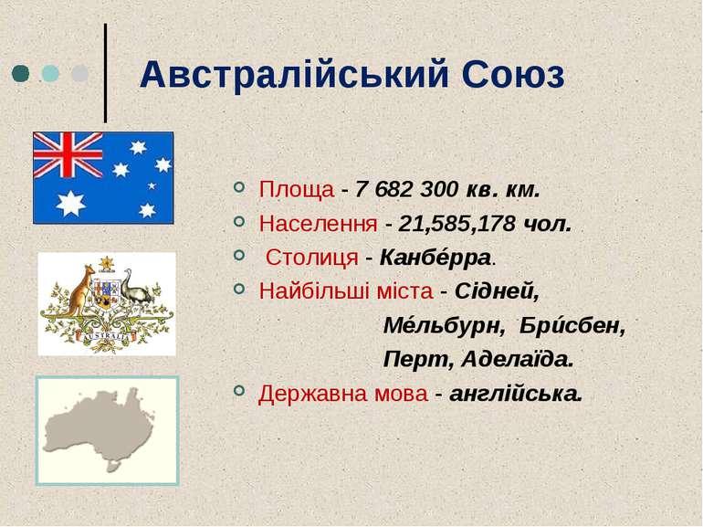 Австралійський Союз Площа - 7 682 300 кв. км. Населення - 21,585,178 чол. Сто...