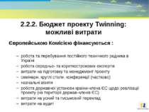 2.2.2. Бюджет проекту Тwinning: можливі витрати Європейською Комісією фінансу...