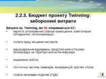2.2.3. Бюджет проекту Тwinning: заборонені витрати Витрати на Twinning, які Н...