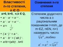 Властивості n-го степеня, n Є Q a>0, b>0, n,k Є Q, a n · a k = a n + k . a n ...