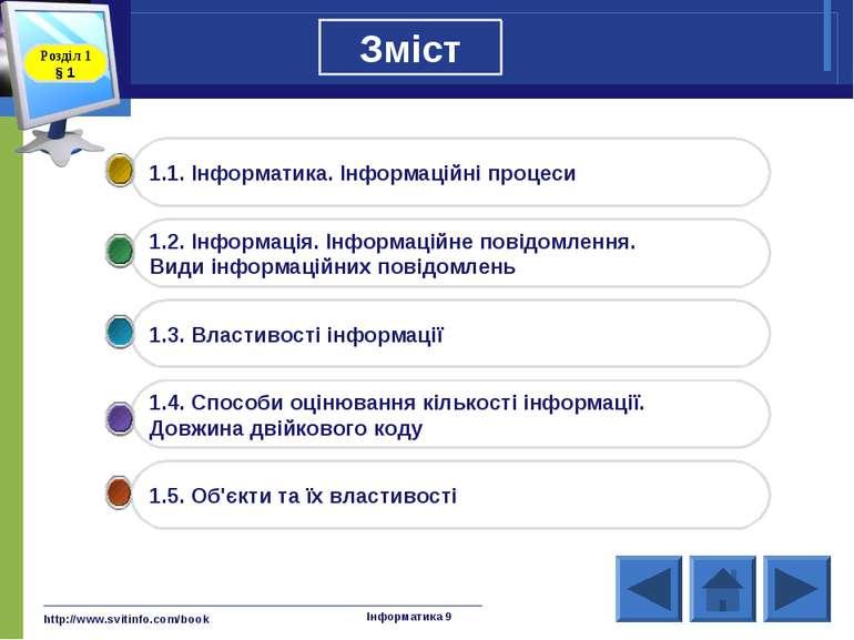 http://www.svitinfo.com/book Інформатика 9 Зміст Інформатика 9