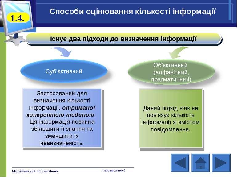 http://www.svitinfo.com/book Інформатика 9 Існує два підходи до визначення ін...