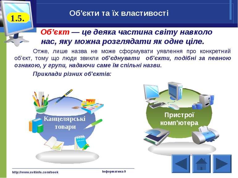 http://www.svitinfo.com/book Інформатика 9 Об'єкт — це деяка частина світу на...