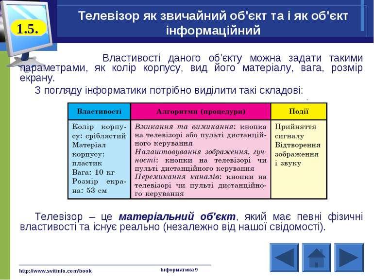http://www.svitinfo.com/book Інформатика 9 Телевізор як звичайний об'єкт та і...