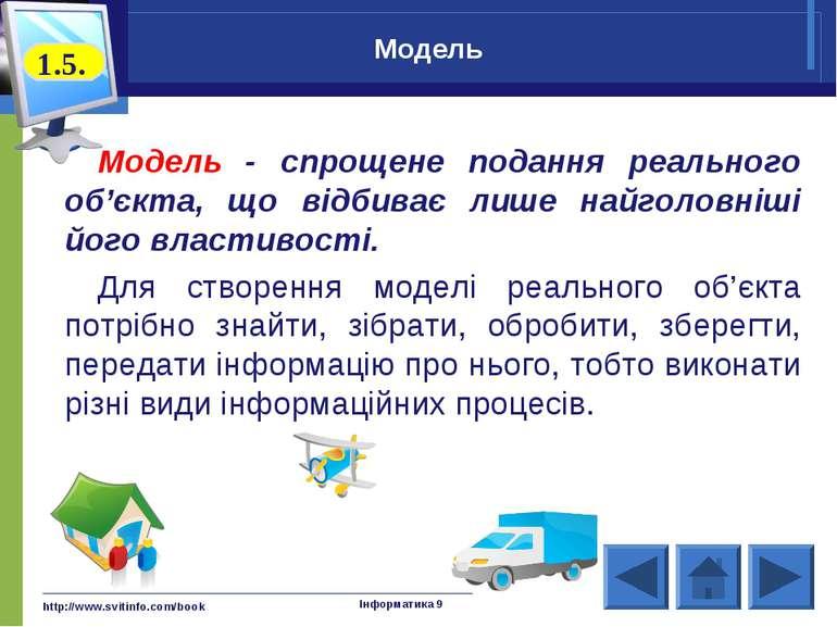 http://www.svitinfo.com/book Інформатика 9 Модель Модель - спрощене подання р...