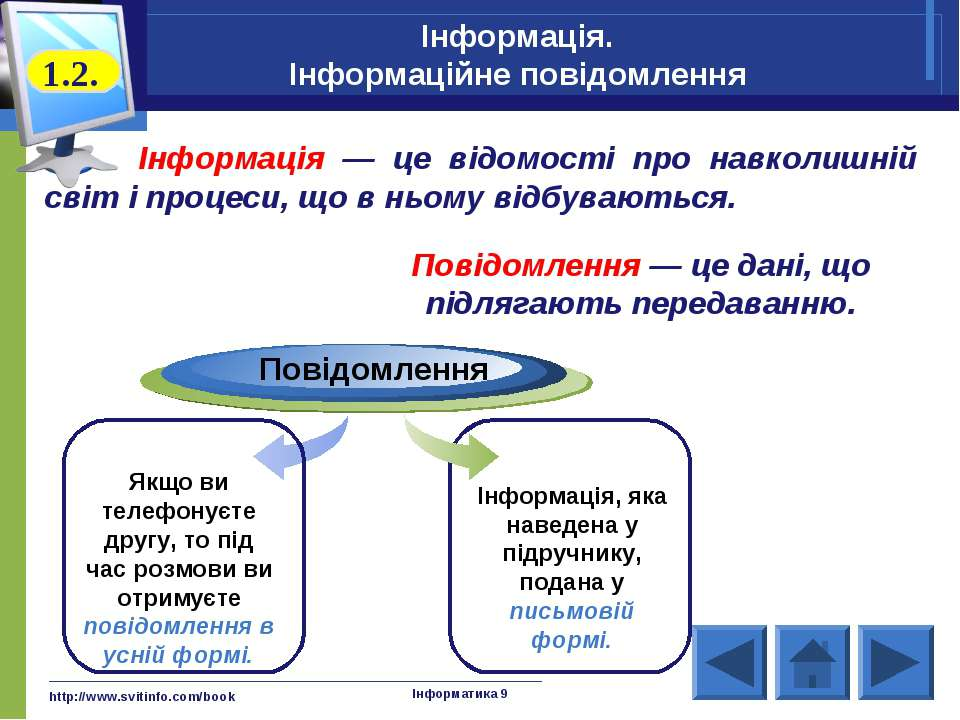 http://www.svitinfo.com/book Інформатика 9 Інформація. Інформаційне повідомле...