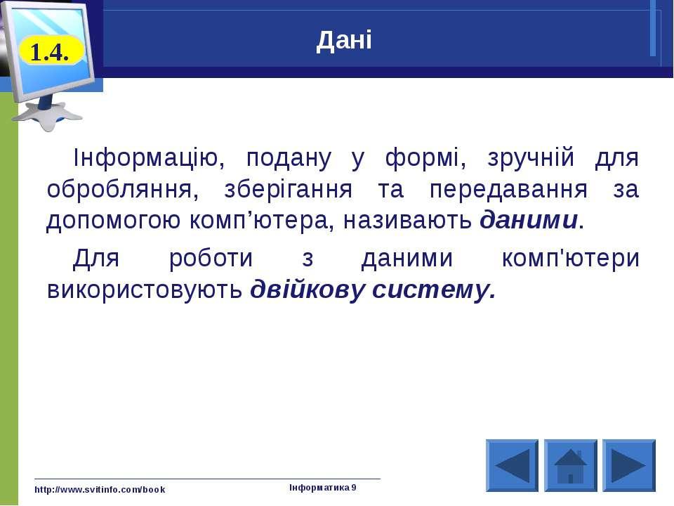 http://www.svitinfo.com/book Інформатика 9 Дані Інформацію, подану у формі, з...