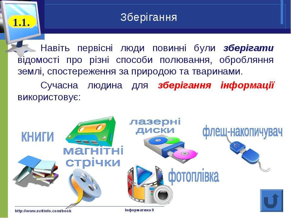 http://www.svitinfo.com/book Інформатика 9 Зберігання Навіть первісні люди по...