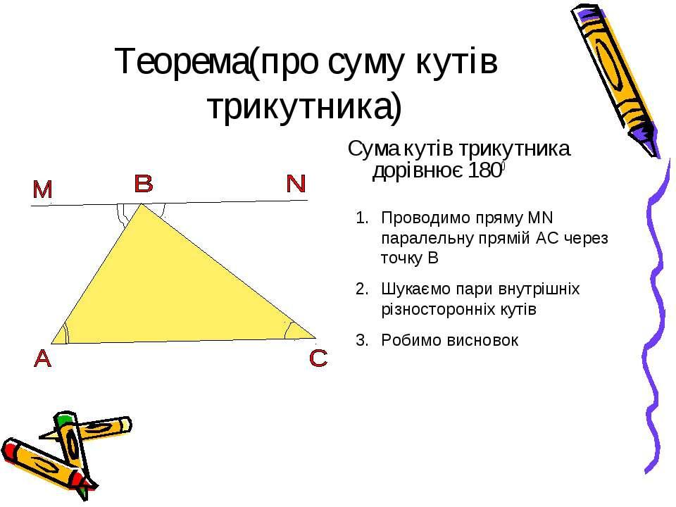 Теорема(про суму кутів трикутника) Сума кутів трикутника дорівнює 1800 Провод...