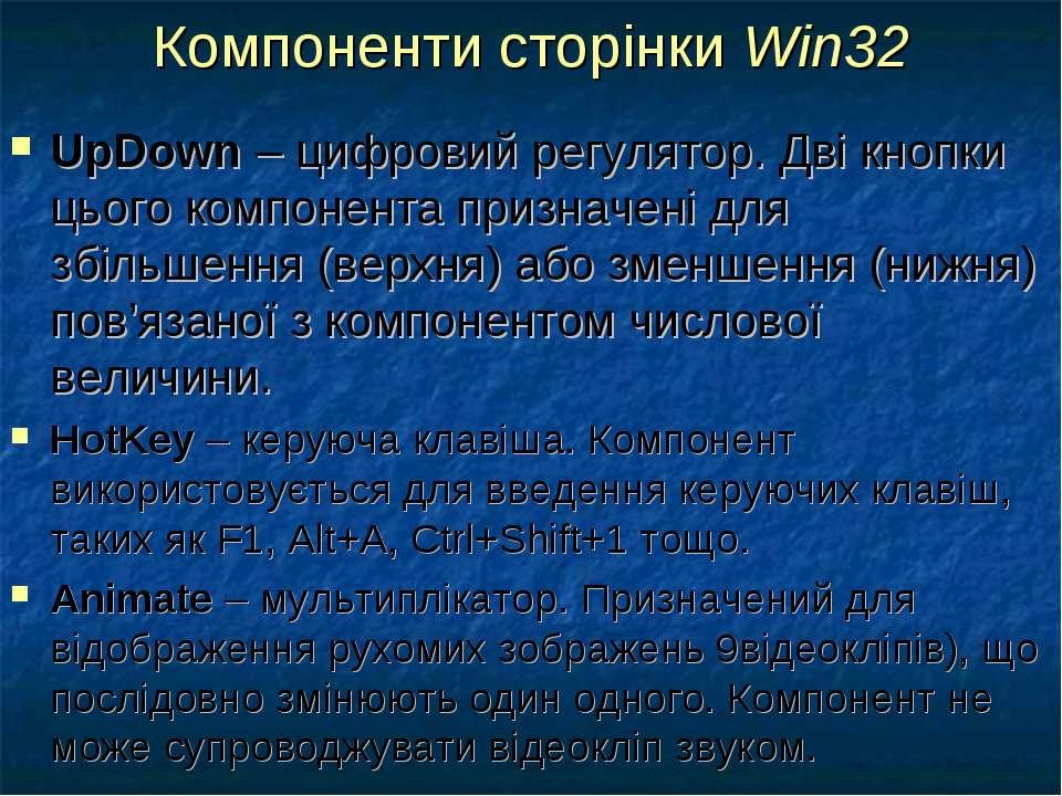 Компоненти сторінки Win32 UpDown – цифровий регулятор. Дві кнопки цього компо...