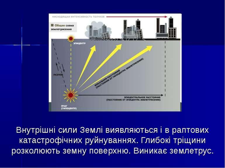 Внутрішні сили Землі виявляються і в раптових катастрофічних руйнуваннях. Гли...