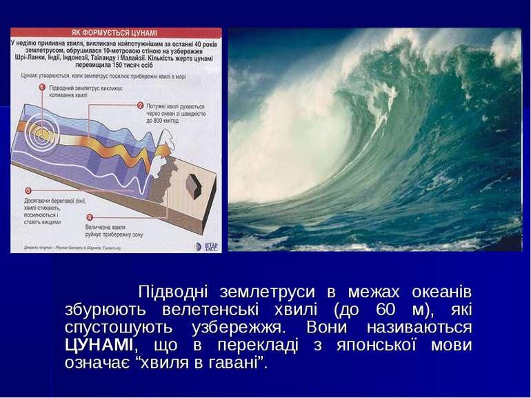 Підводні землетруси в межах океанів збурюють велетенські хвилі (до 60 м), які...