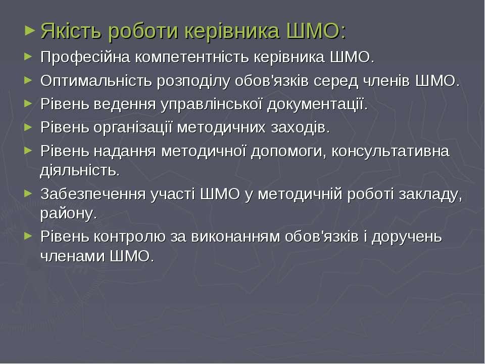 Якість роботи керівника ШМО: Професійна компетентність керівника ШМО. Оптимал...