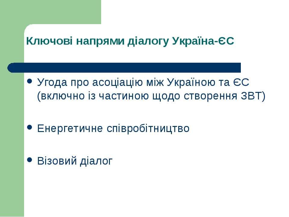 Ключові напрями діалогу Україна-ЄС Угода про асоціацію між Україною та ЄС (вк...
