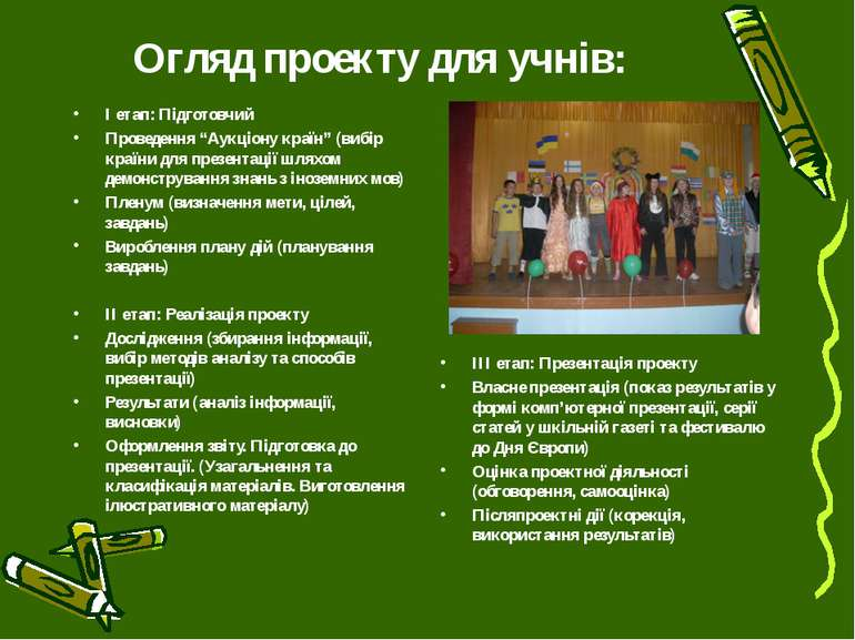"""Огляд проекту для учнів: І етап: Підготовчий Проведення """"Аукціону країн"""" (виб..."""