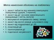 Мета нанесення оболонки на таблетки: 1. захист таблеток від чинників зовнішнь...
