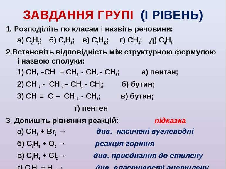 ЗАВДАННЯ ГРУПІ (І РІВЕНЬ) 1. Розподіліть по класам і назвіть речовини: а) С2Н...