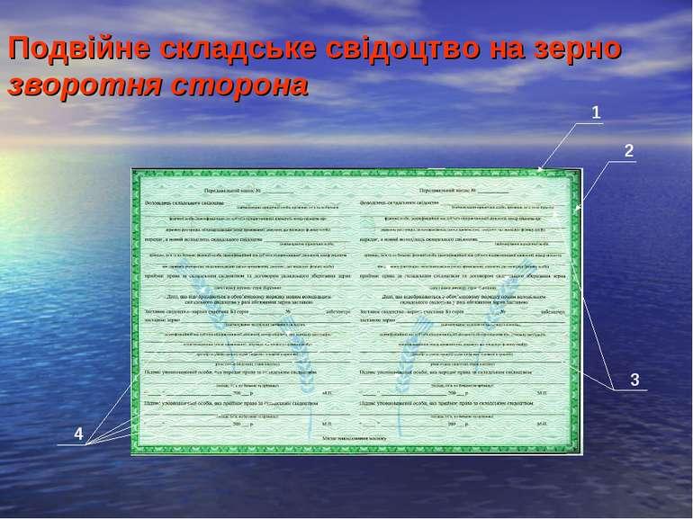 Подвійне складське свідоцтво на зерно зворотня сторона 1 2 3 4