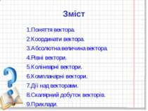 Зміст 1.Поняття вектора. 2.Координати вектора. 3.Абсолютна величина вектора. ...