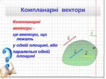 Компланарні вектори - це вектори, що лежать у одній площині, або паралельні о...