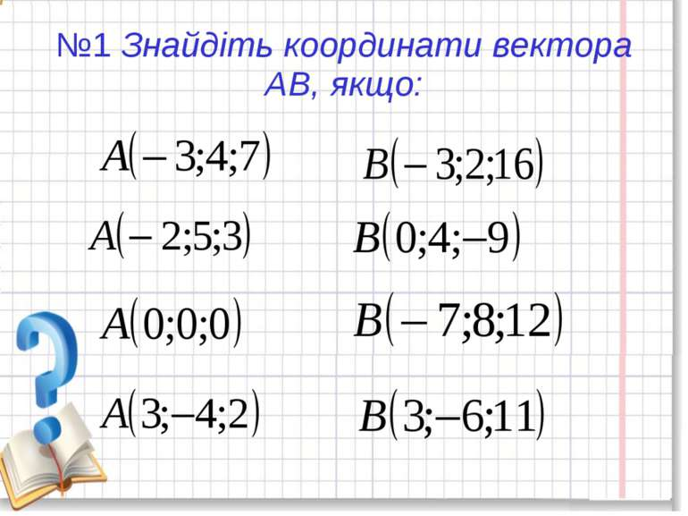 №1 Знайдіть координати вектора АВ, якщо: