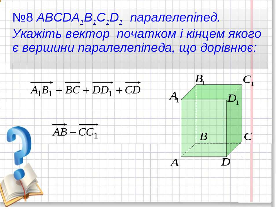№8 ABCDA1B1C1D1 паралелепіпед. Укажіть вектор початком і кінцем якого є верши...