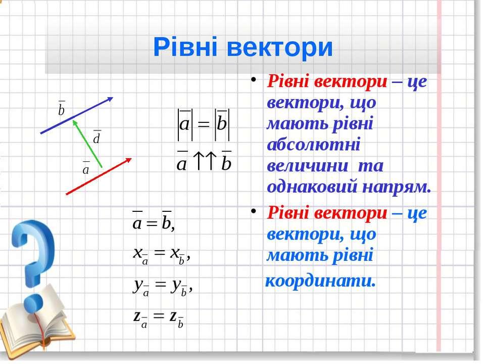 Рівні вектори Рівні вектори – це вектори, що мають рівні абсолютні величини т...