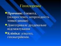 Гіпохлоремія Причини: блювота, (пілоростеноз, непрохідність тонкої кишки) Дов...