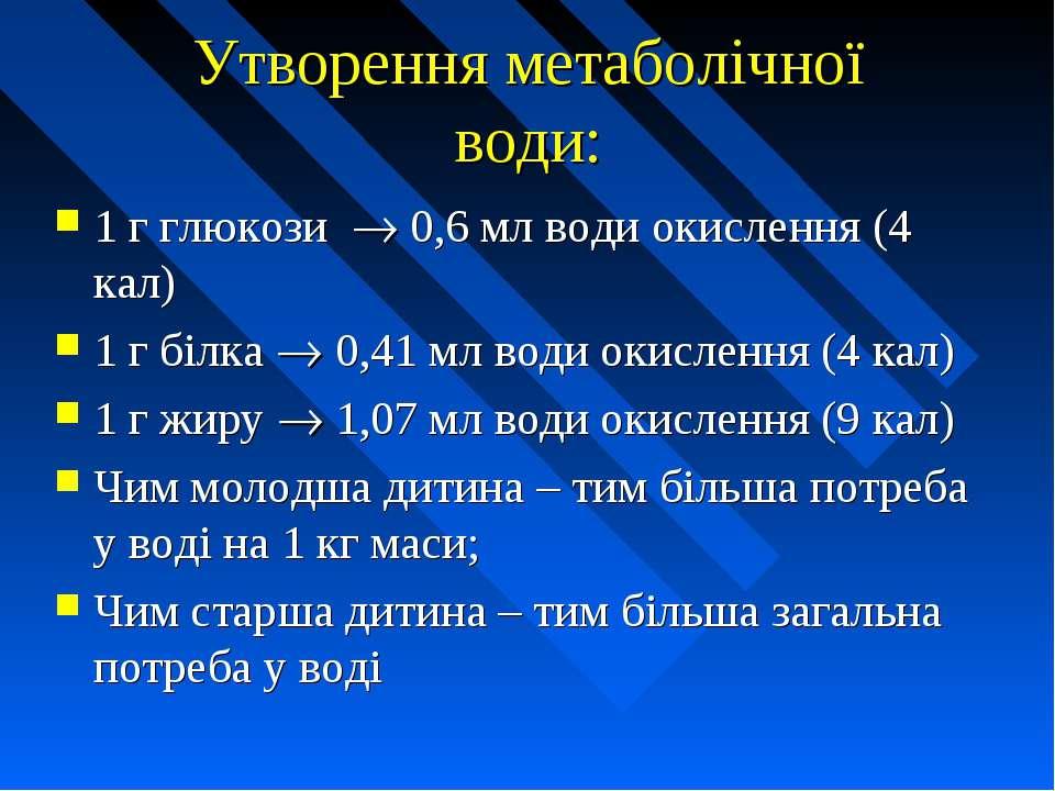 Утворення метаболічної води: 1 г глюкози 0,6 мл води окислення (4 кал) 1 г бі...