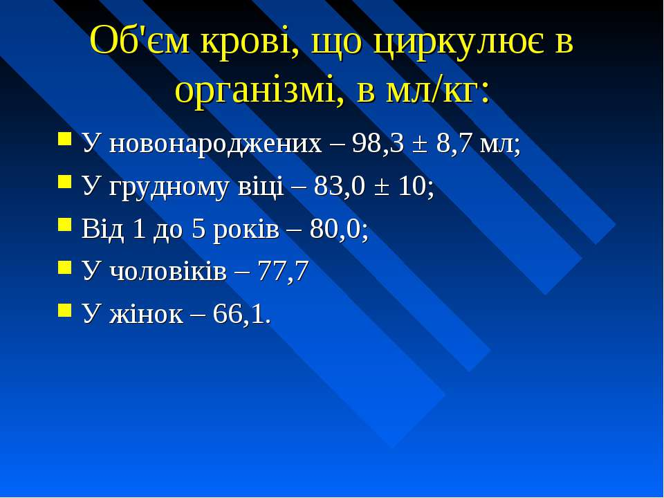 Об'єм крові, що циркулює в організмі, в мл/кг: У новонароджених – 98,3 ± 8,7 ...