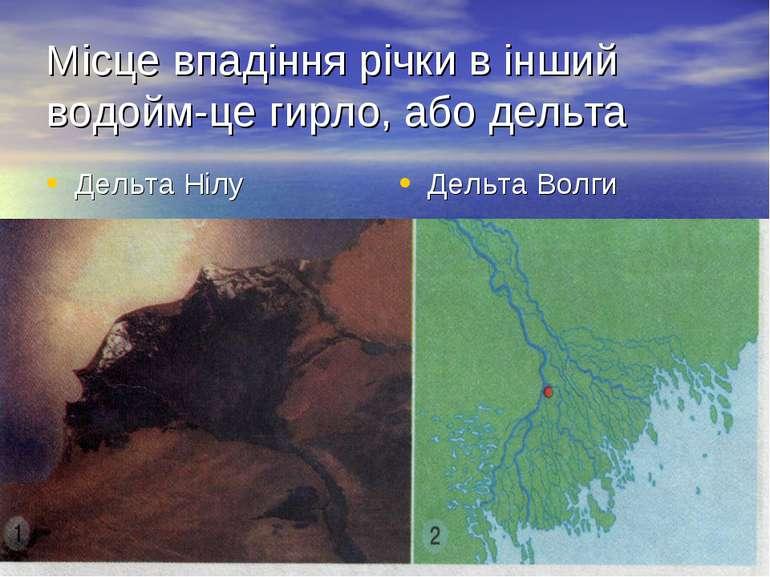 Місце впадіння річки в інший водойм-це гирло, або дельта Дельта Нілу Дельта В...