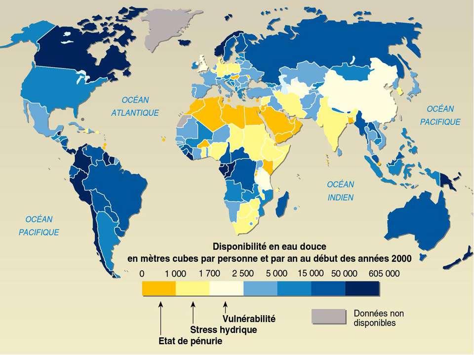 Disponibilité des eaux douces dans le monde