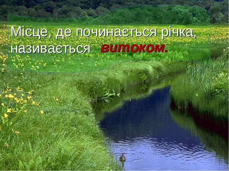 Місце, де починається річка, називається витоком.
