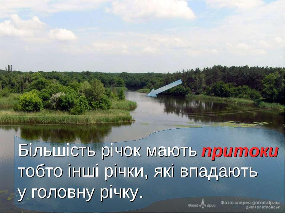 Більшість річок мають тобто інші річки, які впадають у головну річку. притоки